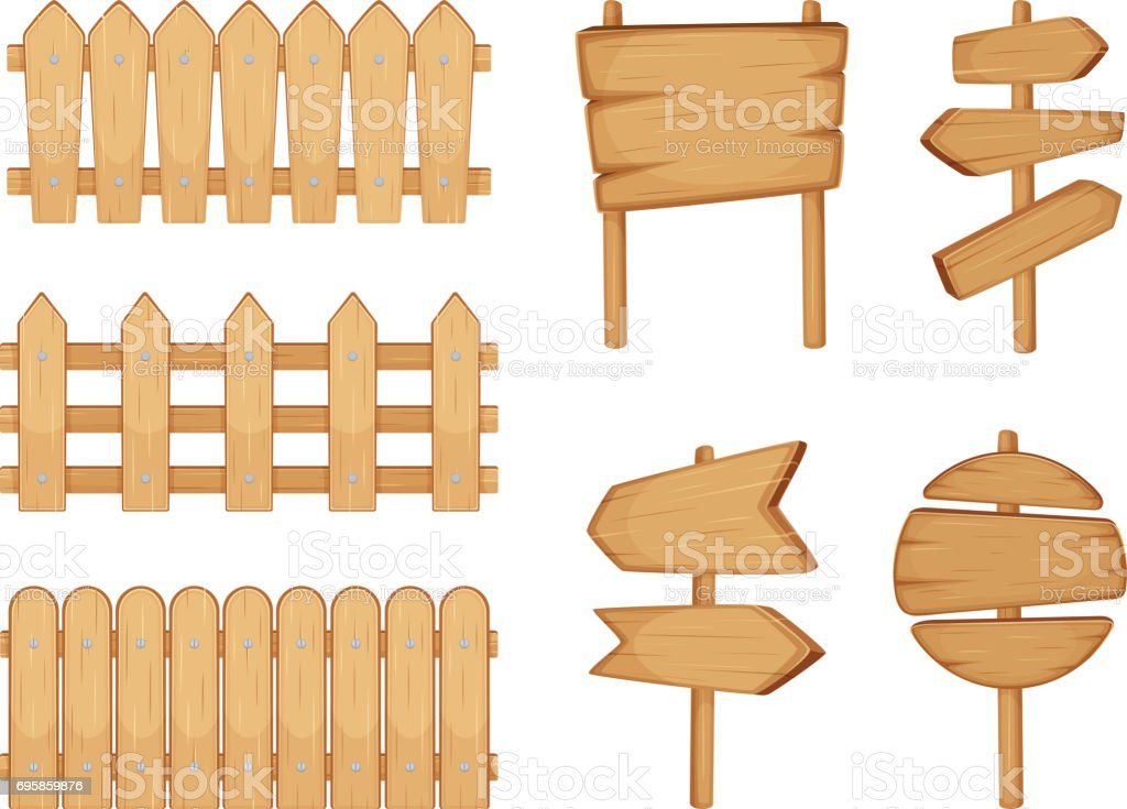 Fences of garden and signs with wood texture. Vector illustration set isolate on white vector art illustration