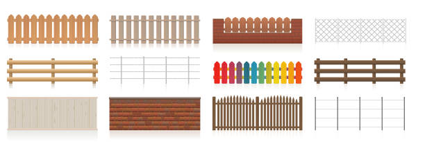 Fences set. Different fences like wooden, garden, electric, picket, pasture, wire fence, wall, barbwire and other railings. Isolated vector illustration on white background. vector art illustration
