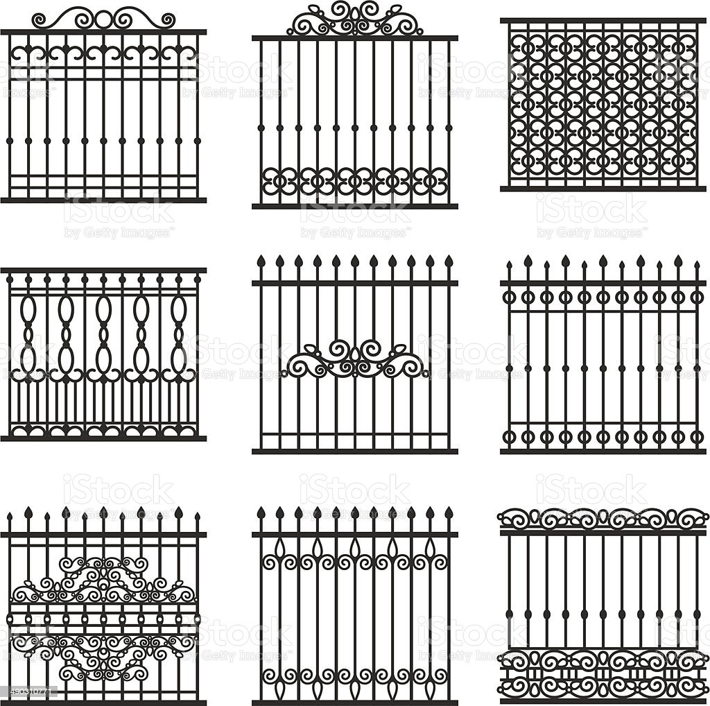 fences set vector art illustration
