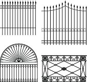 four different wrought iron modular fences
