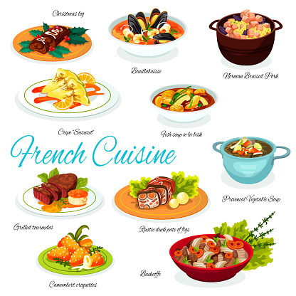Fench meat and vegetable dishes, desserts
