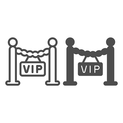 Fencing, barrier, only for VIP guest line and solid icon, celebrity concept, VIP zone stanchion vector sign on white background, outline style icon for mobile concept and web design. Vector graphics.