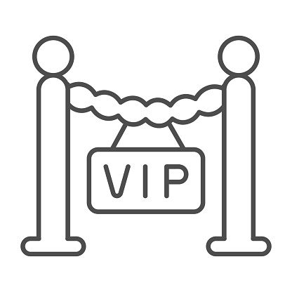 Fencing, barrier, only for VIP guest thin line icon, celebrity concept, VIP zone stanchion vector sign on white background, outline style icon for mobile concept and web design. Vector graphics.
