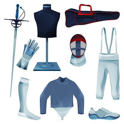 Fencing equipment or game tools collection, set