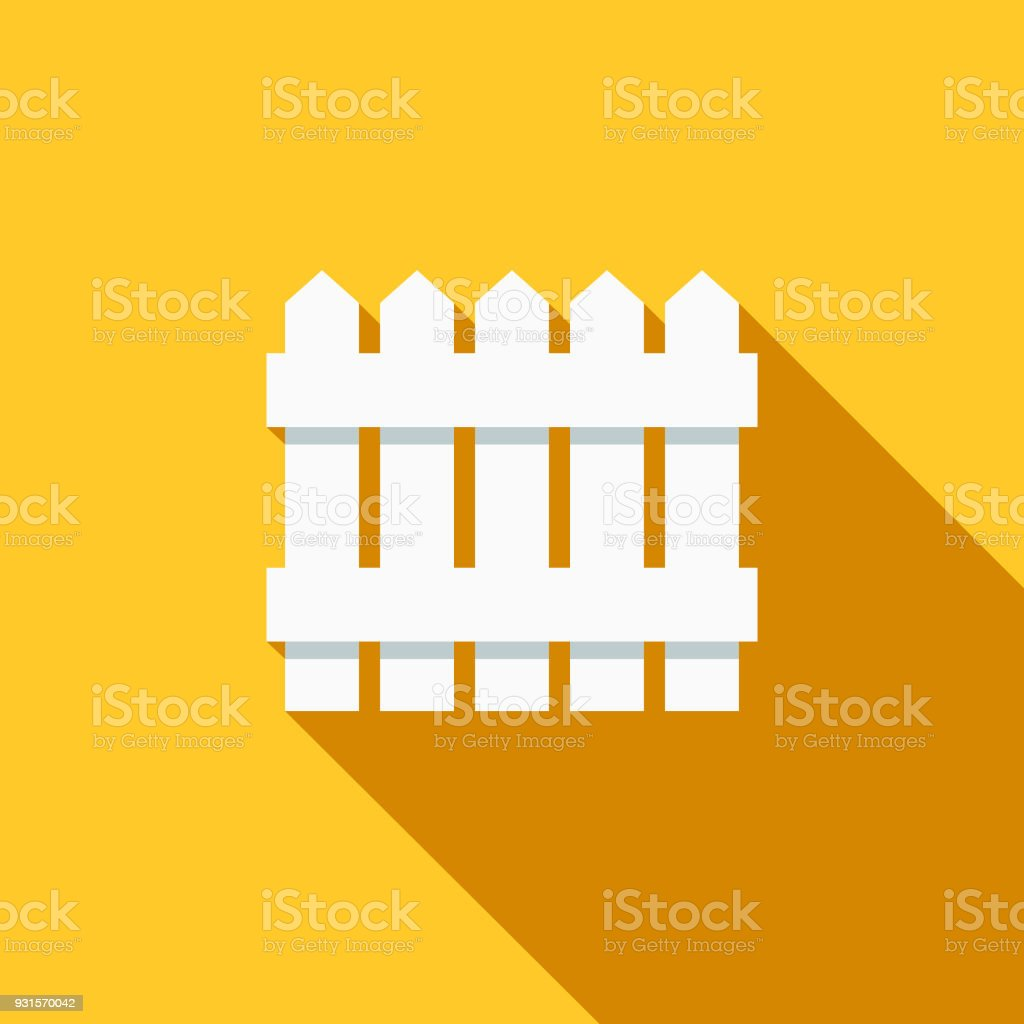 Fencing Flat Design Gardening Icon with Side Shadow vector art illustration