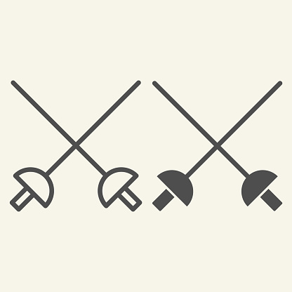 Fencing line and solid icon. Crossed rapiers outline style pictogram on beige background. Swords for mobile concept and web design. Vector graphics.