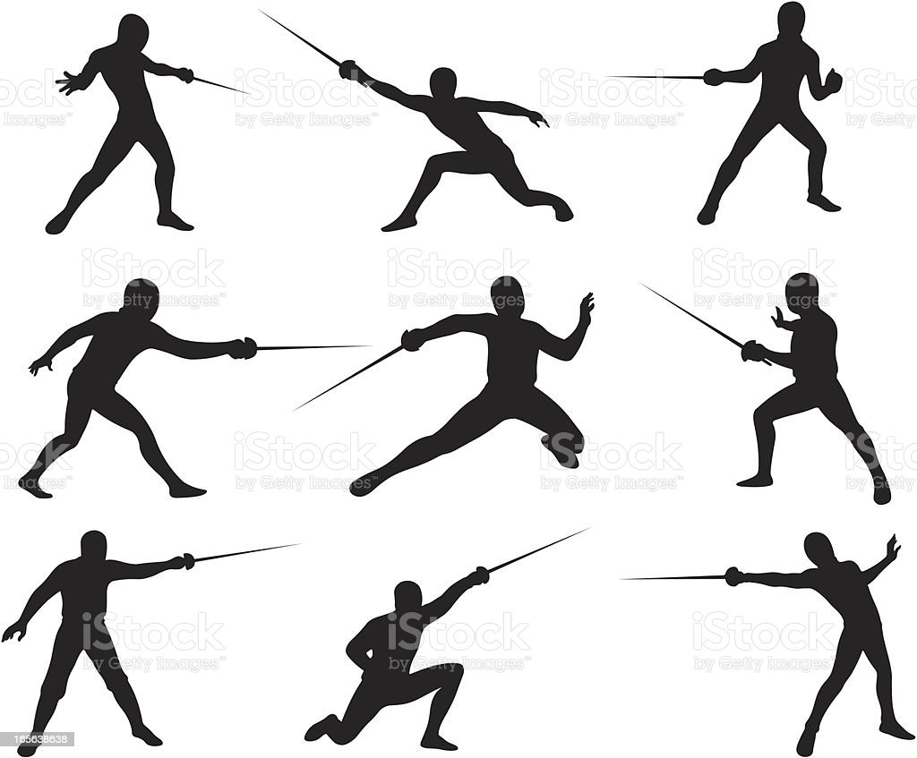 royalty free fencing sport clip art vector images illustrations rh istockphoto com fencing sword clipart fence clipart with horse black and white