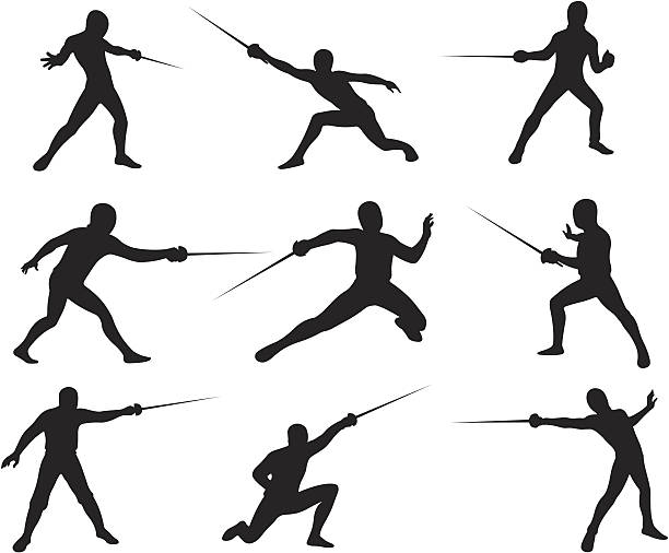 Fencing Silhouettes vector art illustration