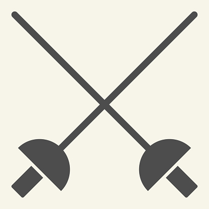 Fencing solid icon. Crossed rapiers glyph style pictogram on beige background. Swords for mobile concept and web design. Vector graphics.
