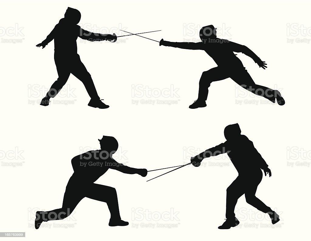 Fencing Sport vector art illustration