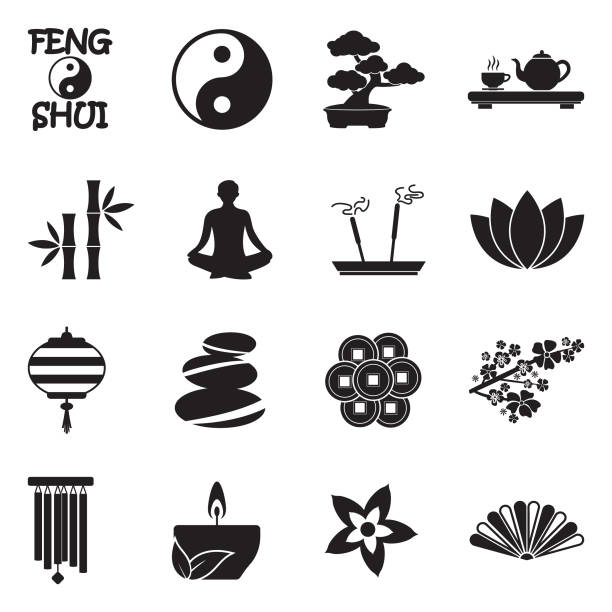 ilustraciones, imágenes clip art, dibujos animados e iconos de stock de iconos de feng shui. diseño plano negro. ilustración de vector. - yin yang symbol