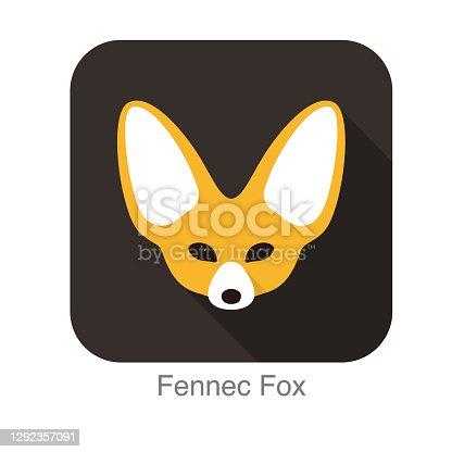 istock Fennec fox face flat icon design, vector illustration 1292357091