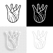 """Icon of """"Fennel"""" for your own design. Four icons with editable stroke included in the bundle: - One black icon on a white background. - One blank icon on a black background. - One white icon with shadow on a blank background (for easy change background or texture). - One line icon with only a thin black outline (in a line art style). The layers are named to facilitate your customization. Vector Illustration (EPS10, well layered and grouped). Easy to edit, manipulate, resize or colorize. And Jpeg file of different sizes."""