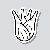 """Icon of """"Fennel"""" on a sticker with a drop shadow isolated on a blank background. Trendy illustration in a flat design style. Vector Illustration (EPS10, well layered and grouped). Easy to edit, manipulate, resize or colorize. Vector and Jpeg file of different sizes."""