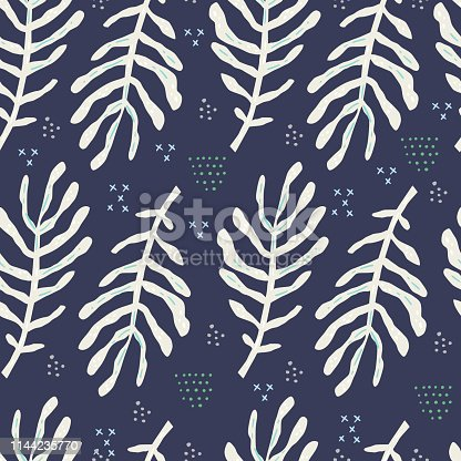 Fern leaves vector hand drawn seamless pattern. Botanical flat backdrop. White foliage plant twigs background. Tropical palm branches textile ornament. Fronds illustration in scandinavian style
