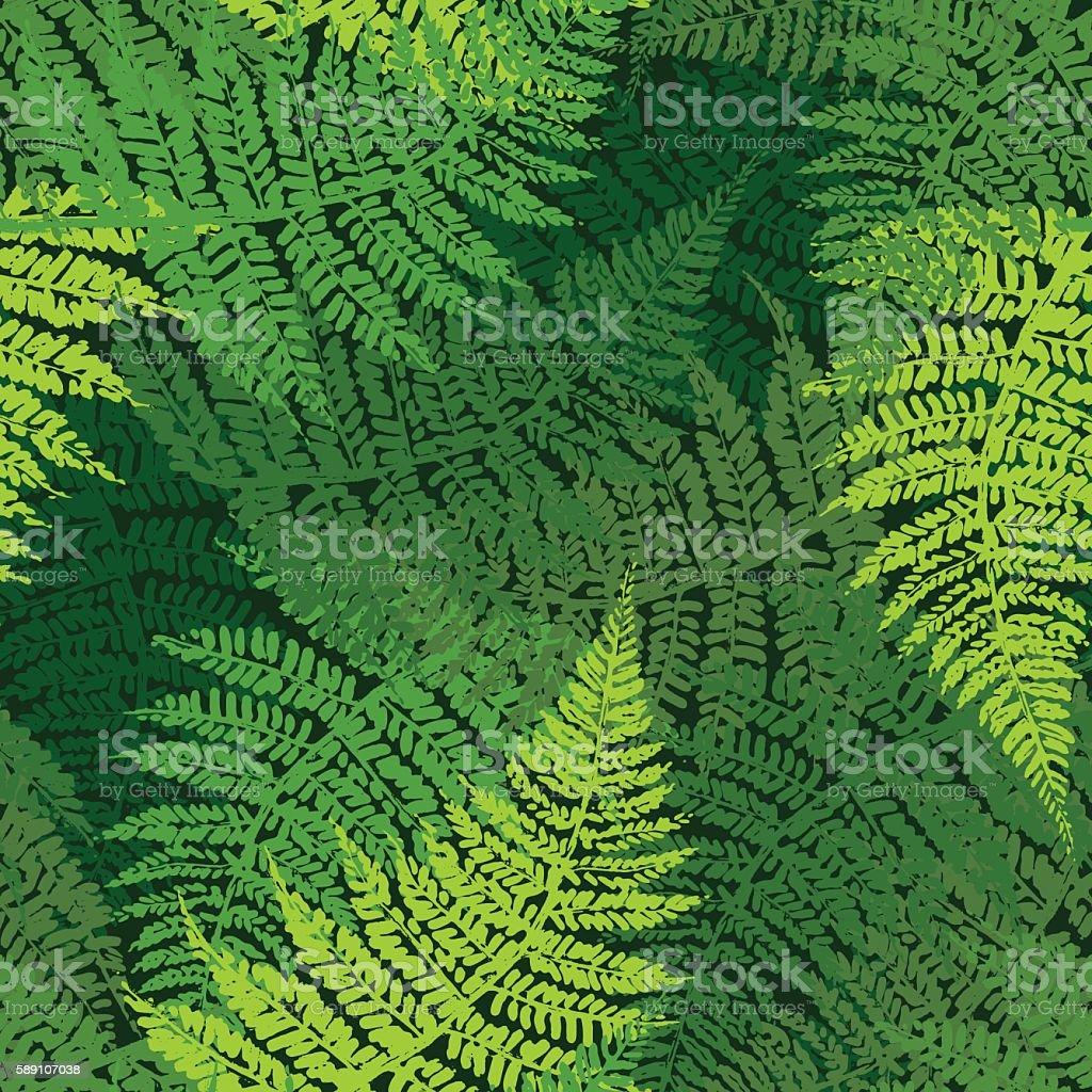 Fern seamless pattern vector art illustration