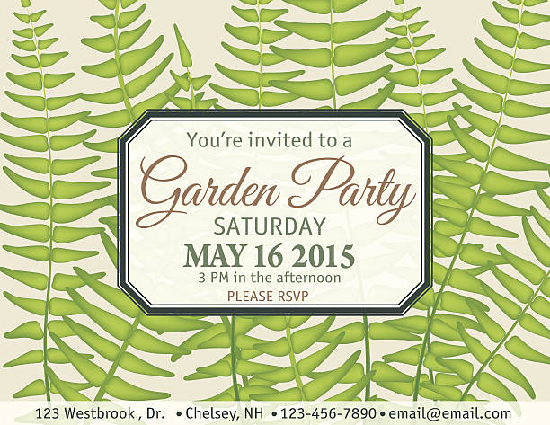 Ferns Garden Party Invitation Template vector art illustration