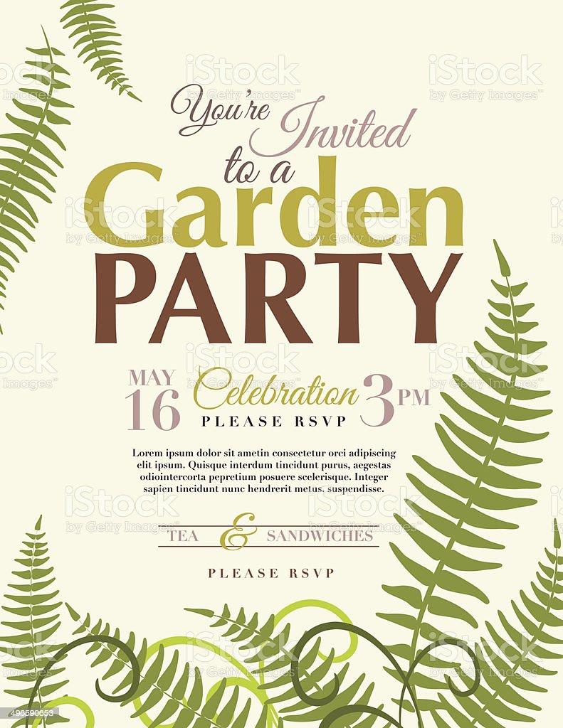 Farne Garten-Party-Einladung Vorlage – Vektorgrafik