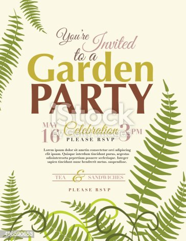 Ferns Garden Party Invitation Template Stock Vector Art & More ...