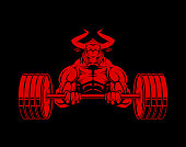 Strong ferocious muscular bull character with heavy barbell - vector cut out illustration.