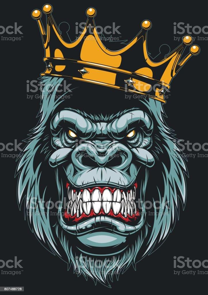 Tête de gorille féroce - Illustration vectorielle