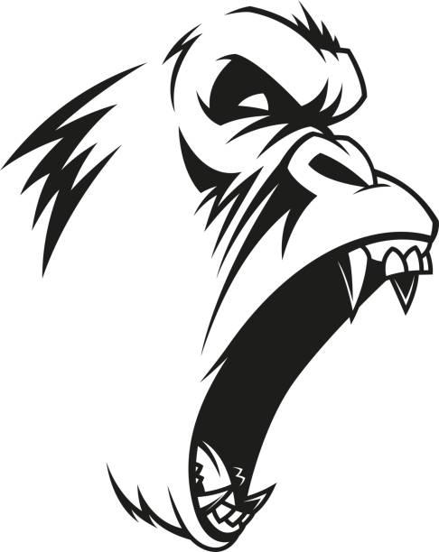 ferocious gorilla head - gorilla stock illustrations