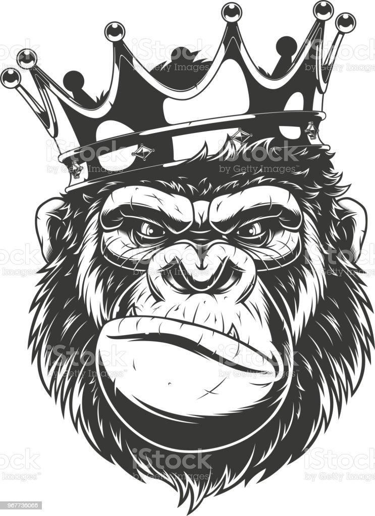 Ferocious gorilla head. vector art illustration