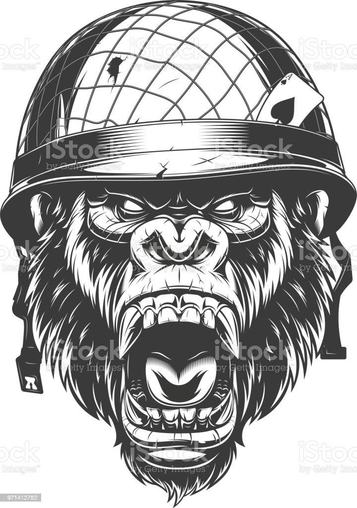 146ca55249e Wilden Gorilla Kopf Lizenzfreies wilden gorilla kopf stock vektor art und  mehr bilder von affe