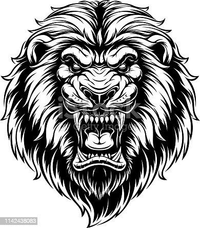 Vector illustration, head of a ferocious lion, black contour on a white background
