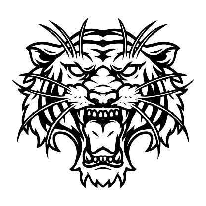 Ferocious tiger head vintage template