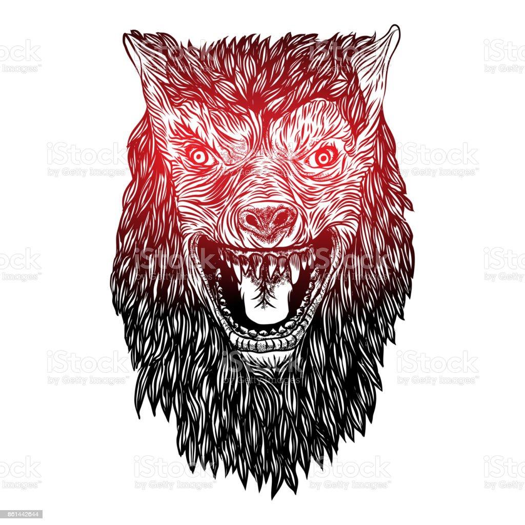 凶暴なオオカミの頭活発な狼の怒っている正面顔タトゥー フラッシュ コンセプトの背景に分離されましたハロウィンのコンセプトですベクトル イラストレーションのベクターアート素材や画像を多数ご用意