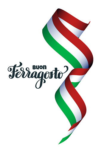 Ferragosto national italian summer festival hand lettering with 3d flag. Translation Happy ferragosto For poster, banner, logo, icon, promo, celebration issues. Concept for august holiday in Italy