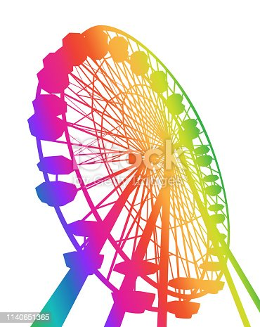 Huge Ferris wheel vector illustration in rainbow colours