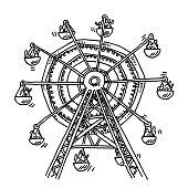 Ferris Wheel Amusement Park Drawing