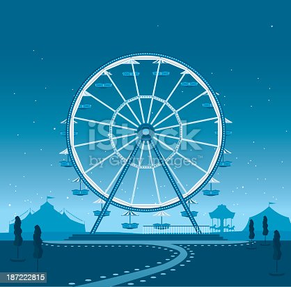 A retro style illustration of a ferris wheel in an amusement park at night. This is an editable EPS 10 vector illustration with CMYK color space.
