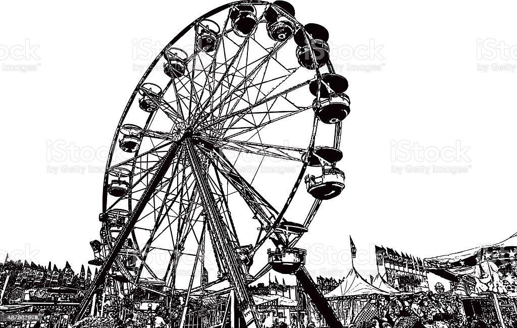 Ferris Wheel at State Fair vector art illustration