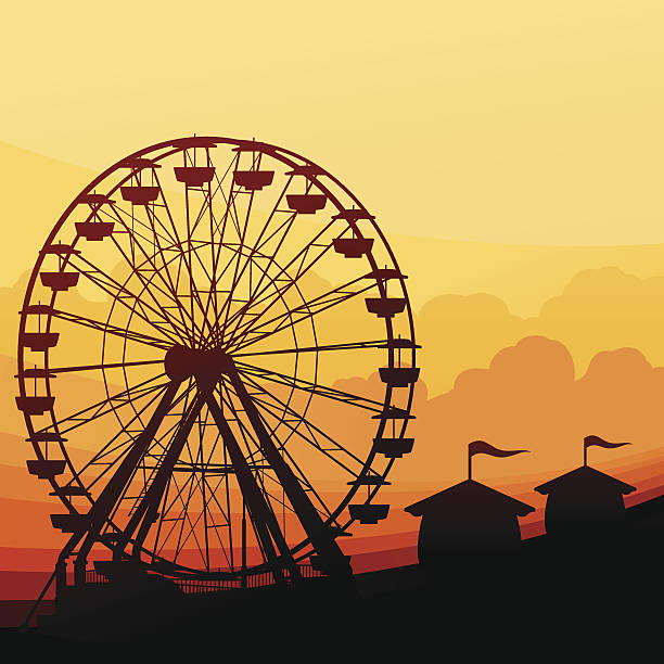 Ferris Wheel Background Amusement park with ferris wheel background with copy space. farmer's market stock illustrations