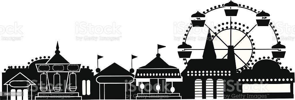 Ferris Wheel County Fair Theme Park vector art illustration