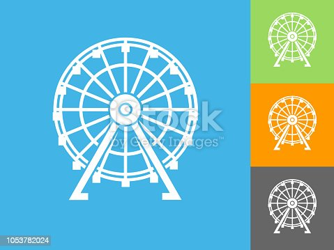 Ferris Wheel  Flat Icon on Blue Background. The icon is depicted on Blue Background. There are three more background color variations included in this file. The icon is rendered in white color and the background is blue.