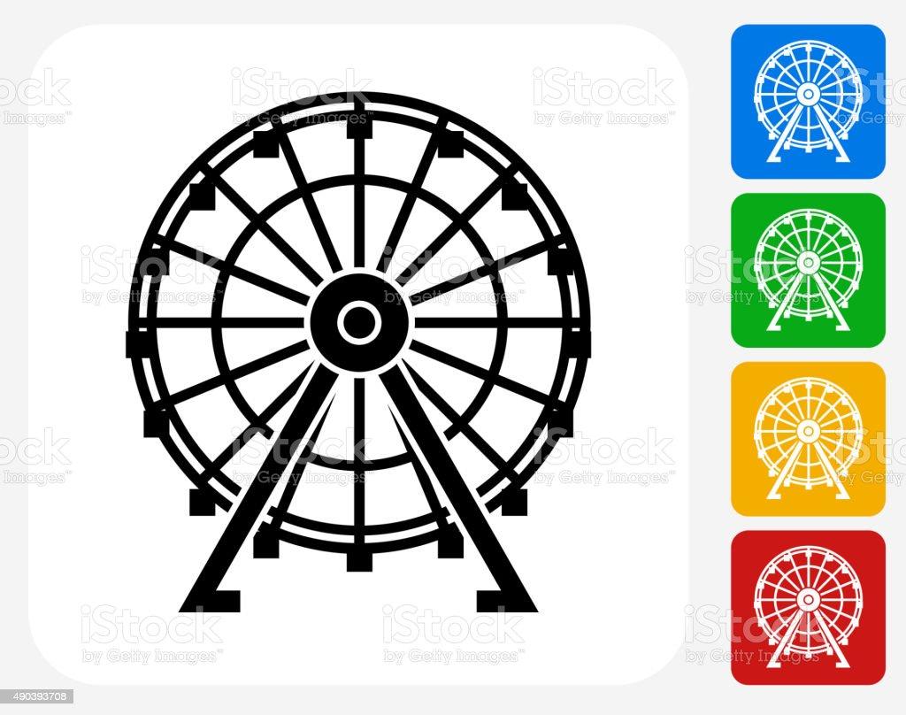 Ferris Wheel Icon Flat Graphic Design vector art illustration