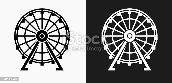 Ferris Wheel Icon on Black and White Vector Backgrounds. This vector illustration includes two variations of the icon one in black on a light background on the left and another version in white on a dark background positioned on the right. The vector icon is simple yet elegant and can be used in a variety of ways including website or mobile application icon. This royalty free image is 100% vector based and all design elements can be scaled to any size.