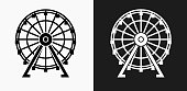 Ferris Wheel Icon on Black and White Vector Backgrounds