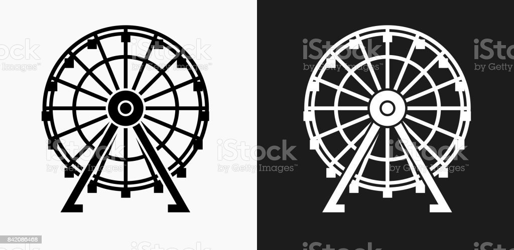 Ferris Wheel Icon on Black and White Vector Backgrounds vector art illustration