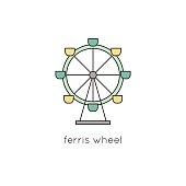 Ferris wheel line icon