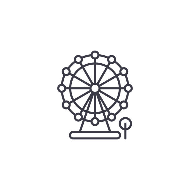 摩天輪線形圖示概念。摩天輪線向量符號, 符號, 插圖。向量藝術插圖