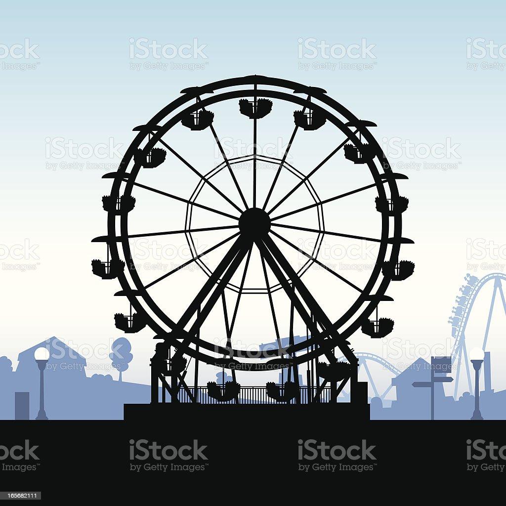 Ferris Wheel Silhouette vector art illustration