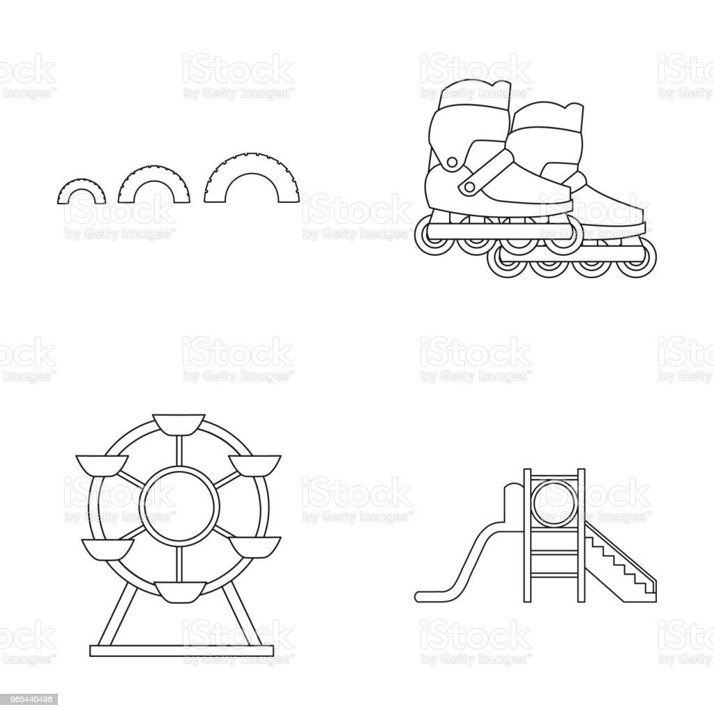 Ferris wheel with ladder, scooter. Playground set collection icons in outline style vector symbol stock illustration web. ferris wheel with ladder scooter playground set collection icons in outline style vector symbol stock illustration web - stockowe grafiki wektorowe i więcej obrazów dzieciństwo royalty-free