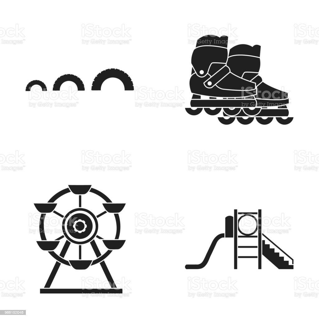 Ferris wheel with ladder, scooter. Playground set collection icons in black style vector symbol stock illustration web. - arte vettoriale royalty-free di Attrezzatura