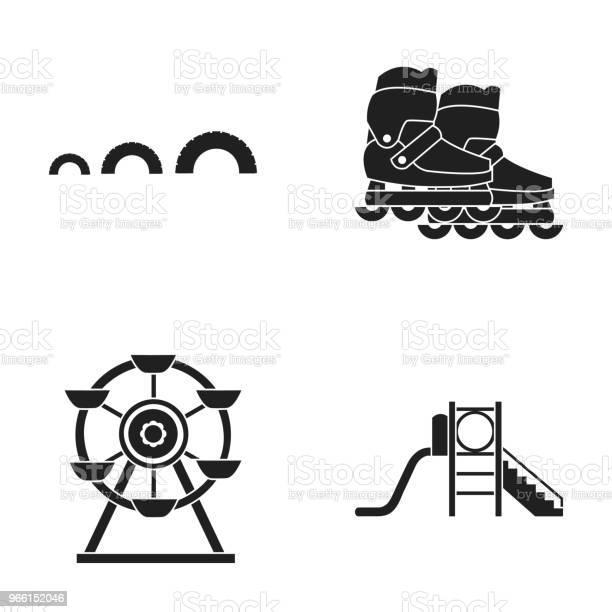 Ruota Panoramica Con Scala Scooter Icona Della Raccolta Set Di Parchi Giochi In Stile Nero Simbolo Vettoriale Illustrazione Web - Immagini vettoriali stock e altre immagini di Attrezzatura