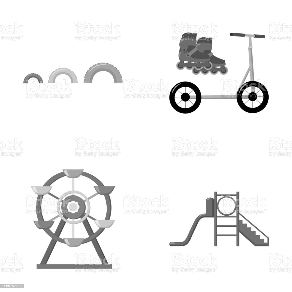 Ferris wheel with ladder, scooter. Playground set collection icons in monochrome style vector symbol stock illustration web. - Векторная графика Векторная графика роялти-фри
